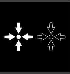 Four arrows point show to dot icon set white vector
