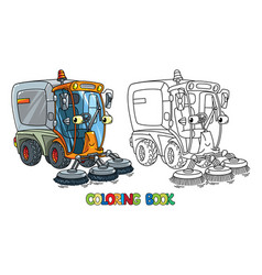 funny small sweeper car with eyes coloring book vector image