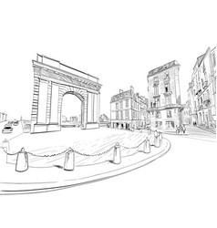 Gate burgundy bordeaux france hand drawn vector