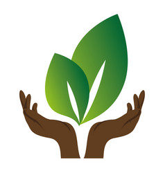 Green background with hands and big leaves vector
