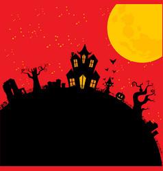 Halloween creepy house cartoons style vector