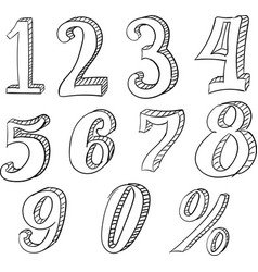 hand drawn doodle set with numbers vector image