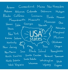Handwritten USA states vector