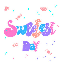 happy sweetest day logo simple style vector image