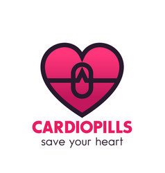 heart pills logo pharmacy medicine symbol vector image