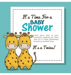 Invitation baby shower twins boy giraffe design vector