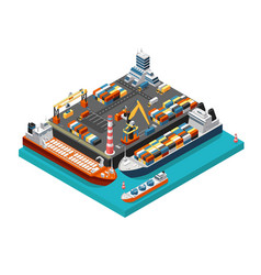Isometric 3d seaport terminal with cargo ships vector