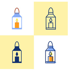 lantern with burning candle icon set in flat vector image