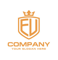 letter eu initial with shield and crown luxury lo vector image
