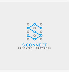 letter s digital technology network logo template vector image