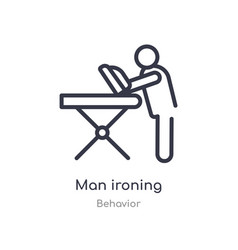 Man ironing outline icon isolated line from vector