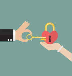 Man try to unlock womans heart vector