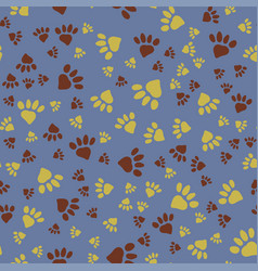many animal footprints seamless pattern vector image