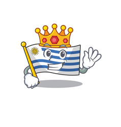Mascot flag uruguay with in king character vector