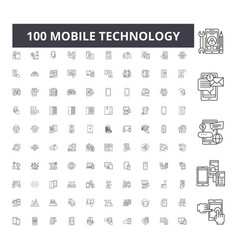 mobile technology line icons signs set vector image