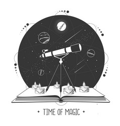 Modern magic witchcraft open book with telescope vector