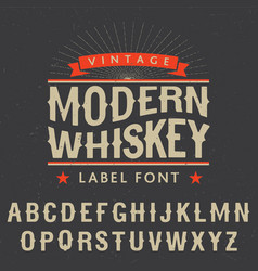 Modern whiskey label font poster vector
