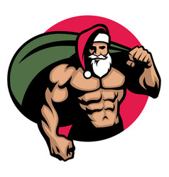 Muscular santa claus bring a bag full of vector