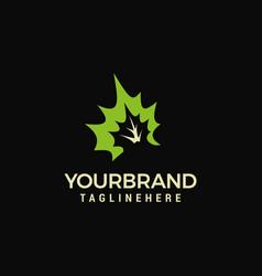 nature logo - fresh green leaves logo design vector image