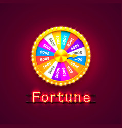 Neon colorful fortune wheel vector