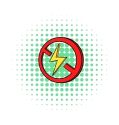 No lightning icon in comics style vector image