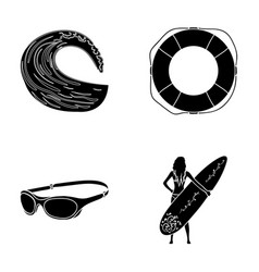 oncoming wave life ring goggles girl surfing vector image