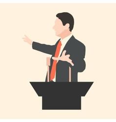 Orator speaks with broad gestures behind a podium vector image