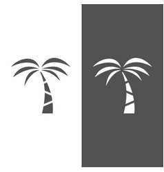 palm tree icon on a black and white background vector image