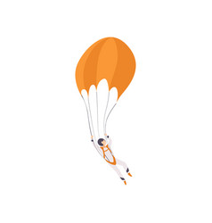 Paratrooper descending with a parachute extreme vector