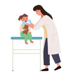 Pediatrician looks at throat a little girl vector