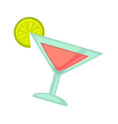 pink cocktail in martini glass with lime slice on vector image