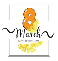 Poster happy womens day 8 march mimosa vector