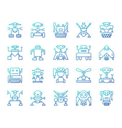 robot simple color line icons set vector image