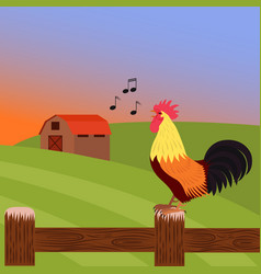 rooster crowing at dawn on a farm standing on a vector image