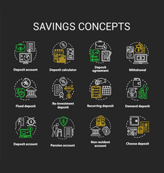 Savings concept chalk concept icons set different vector