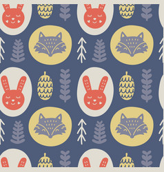 scandinavian forest animals hand drawn pattern vector image