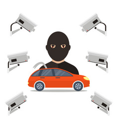 security camera for car thief vector image