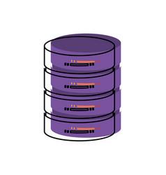 Server hosting storage icon in watercolor vector