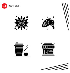 Set 4 modern ui icons symbols signs for autumn vector