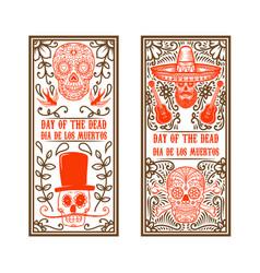set day dead dia de los muertos flyer vector image