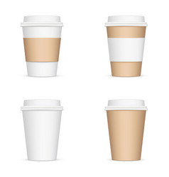 set paper coffee cups isolated vector image