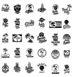 set summer emblems with palms for emblem sign vector image