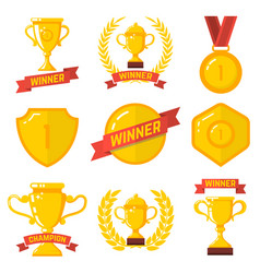 set winner emblems in flat style design vector image