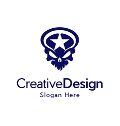 Skull star scary military creative logo vector