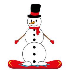 snowman on snowboard vector image