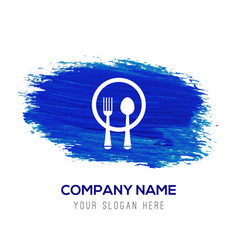 Spoon and fork icon - blue watercolor background vector