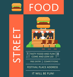 street food festival invitation with burger cafe vector image