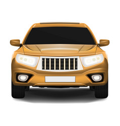 Suv car front view isolated on white realistic vector