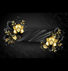 Textured banner with black orchids vector