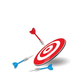 The red arrow achieved hit center Target of dart vector image